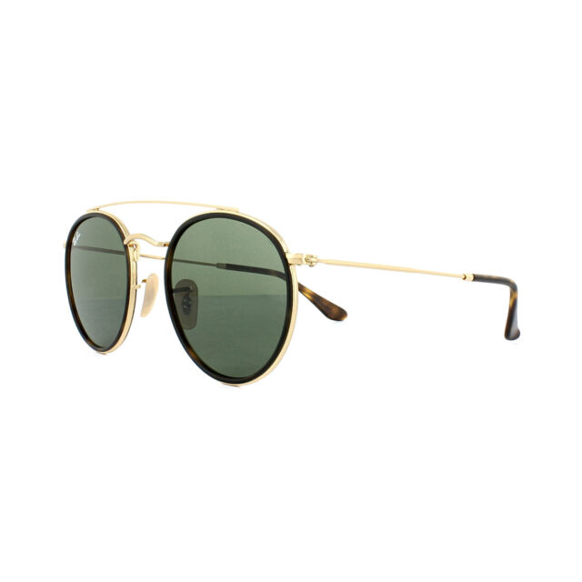 Ray-Ban Sunglasses Round Double Bridge 3647N 001 Gold Green