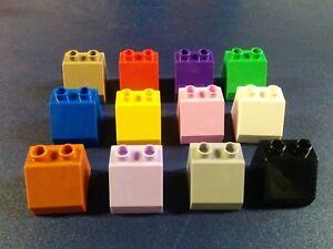 4-lego-duplo-2X2-brick-slope-45-purple-pink-brown-black-castle-rare