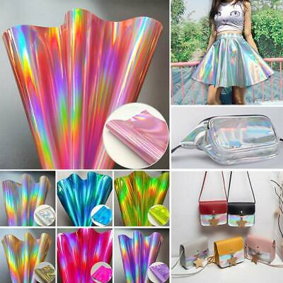 Rainbow Laser PU Faux Leather Leatherette Fabric Sheets DIY Handmade Bows Craft