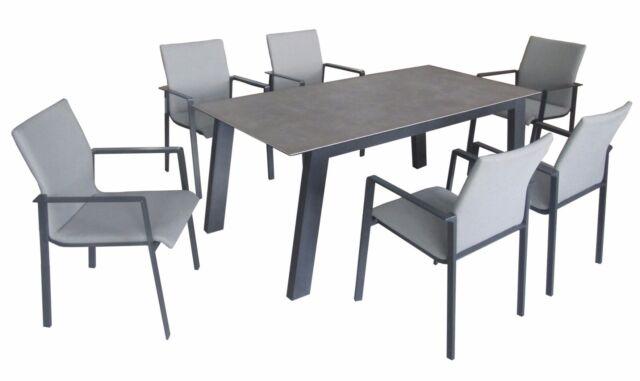 Essgruppe Garten Sitzgruppe 6 Alu Stühle Stapelbar Mit Keramiktisch