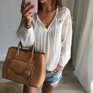 New-Fashion-Women-Sheer-Sleeve-Chiffon-Lace-Top-Blouse-Crochet-Chiffon-T-Shirt