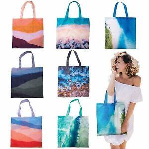 COASTAL-FOLDABLE-SHOPPING-BAG-Reusable-Eco-Grocery-Storage-Tote-Handbag-NEW