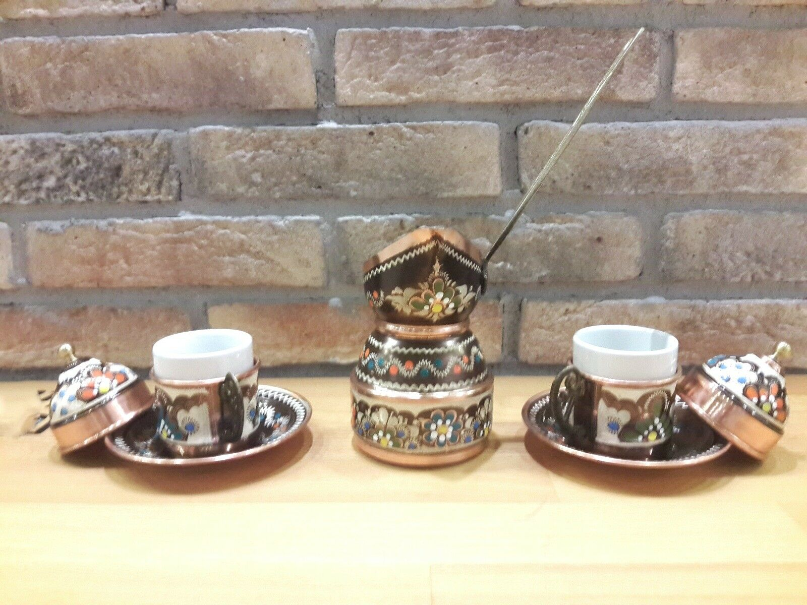 Turkish Coffee Serving Set-Coffee Porcelain Cup&Saucer,Large  Coffee Maker Pot