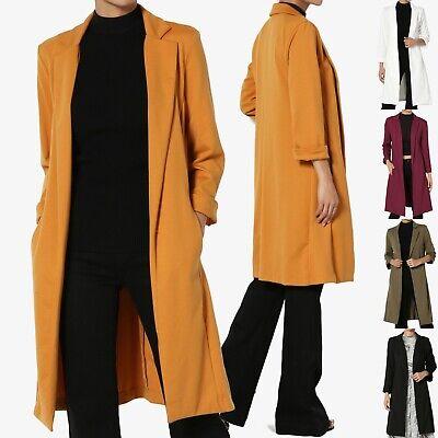 TheMogan Solid Longline Blazer Day to Night Sleek Open Front Duster Long Jacket