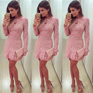Women-Lady-Lace-Long-Sleeve-Party-Evening-Cocktail-Bodycon-Slim-Short-Mini-Dress