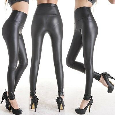 Women's Stretchy Leather Look High Waist Pants Skinny Trousers Leggings Size L