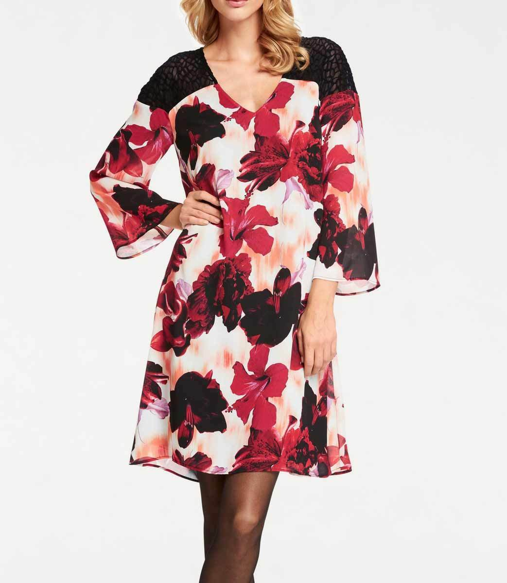 Ashley Brooke Designer Druckkleid m. Spitze bunt Gr 34 bis 42 Kleid Blaumen