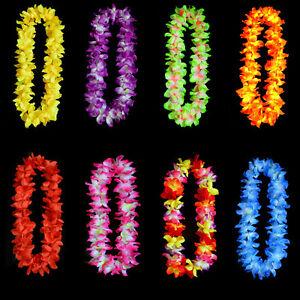 Hawaiian Tropical Beach Theme Luau Party Flower Leis Necklace Garland 8Colors LL