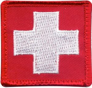 Red-Embroidered-White-Cross-EMT-Medic-EMS-Emergency-Hook-Patch-1-7-8-034-x-1-7-8-034