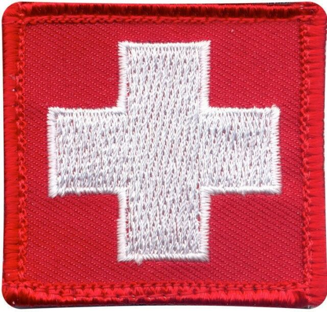 "Red Embroidered White Cross EMT Medic EMS Emergency Hook Patch 1 7/8"" x 1 7/8"""
