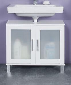 Details zu Waschbeckenunterschrank weiß Glas Bad Schrank Unterschrank  Badezimmer Florida