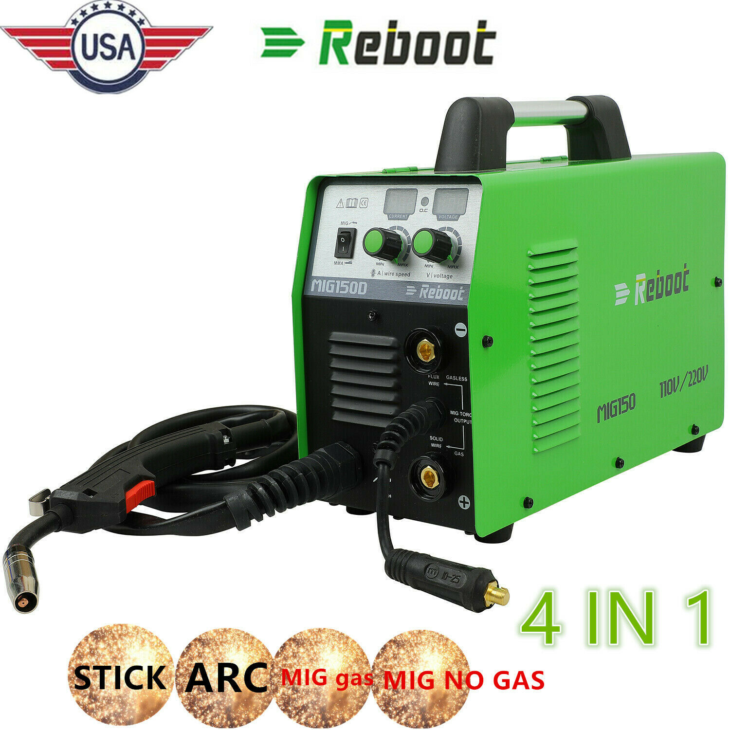 MIG Welder 150 Gas/Gasless 110/220V ARC Stick MMA Inverter 3 IN 1 150A Welding. Buy it now for 244.99