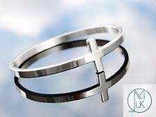 Stainless Steel Silver Tone Sideways Cross Cuff Bangle Bracelet Gift Pouch