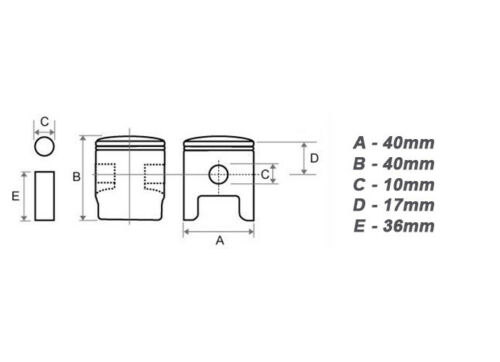 40 mm Zylinder /& Kolben für Aram-Trade Boomag-Germany BC BC52 BC520 Motorsense