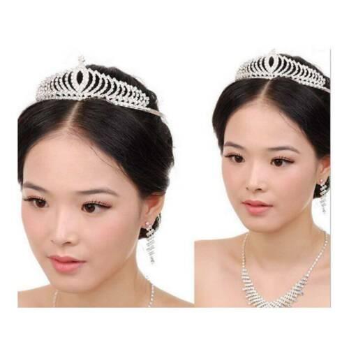 Princess Silver Wedding Bridal Crystal Rhinestone Prom Hair Tiara Crown Headband