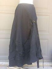Saga Lagenlook Black Ruched Pleated Crinkle Asymmetrical Ties Skirt sz 3 M/L