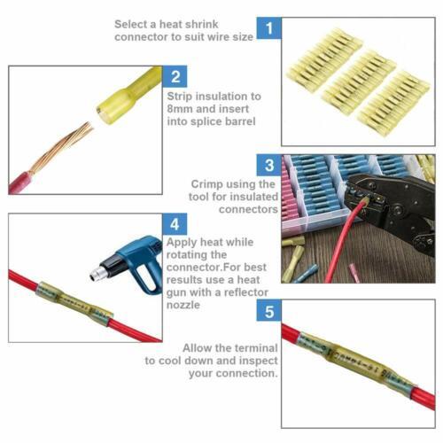 50pcs 12-10 Gauge AWG Heat Shrink Butt Wire Crimp Connectors Terminals Yellow