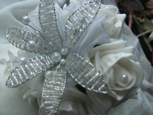 WEDDING-FLOWERS-MAIDS-WAND-BOUQUET-WHITE-ROSES-BEAD-FLOWER-CRYSTALS-AND-PEARLS