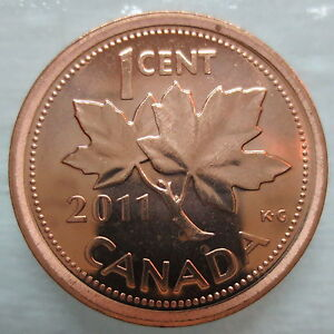 2011-CANADA-1-BRILLIANT-UNCIRCULATED-NON-MAGNETIC-PENNY
