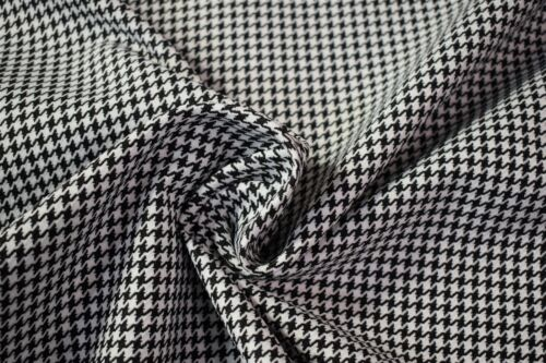 """Vintage White Black Houndstooth Canvas Tweed Fabric 55/""""W Seat Upholstery Auto"""