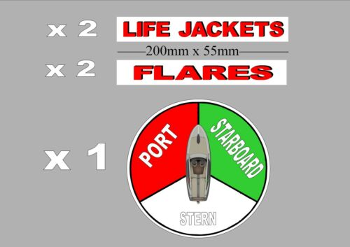 5 X sticker pack  lifejackets flares for Boat Yacht Dingy Runabout Tinny