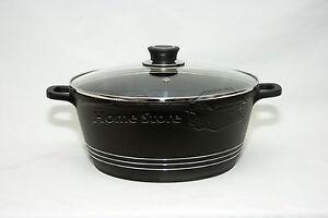 32cm die cast non stick deep induction casserole pot cookware glass lid black ebay. Black Bedroom Furniture Sets. Home Design Ideas