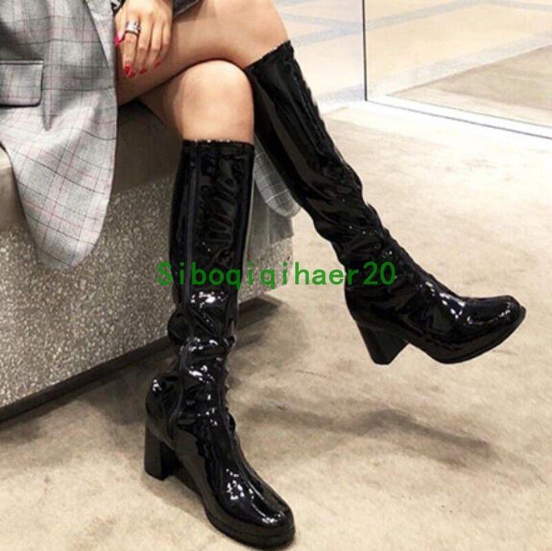 Zapatos de fiesta Runway Occident dedo del pie cuadrado cuadrado pie señoras de la rodilla botas altas de invierno Púrpura Sibo 296b88
