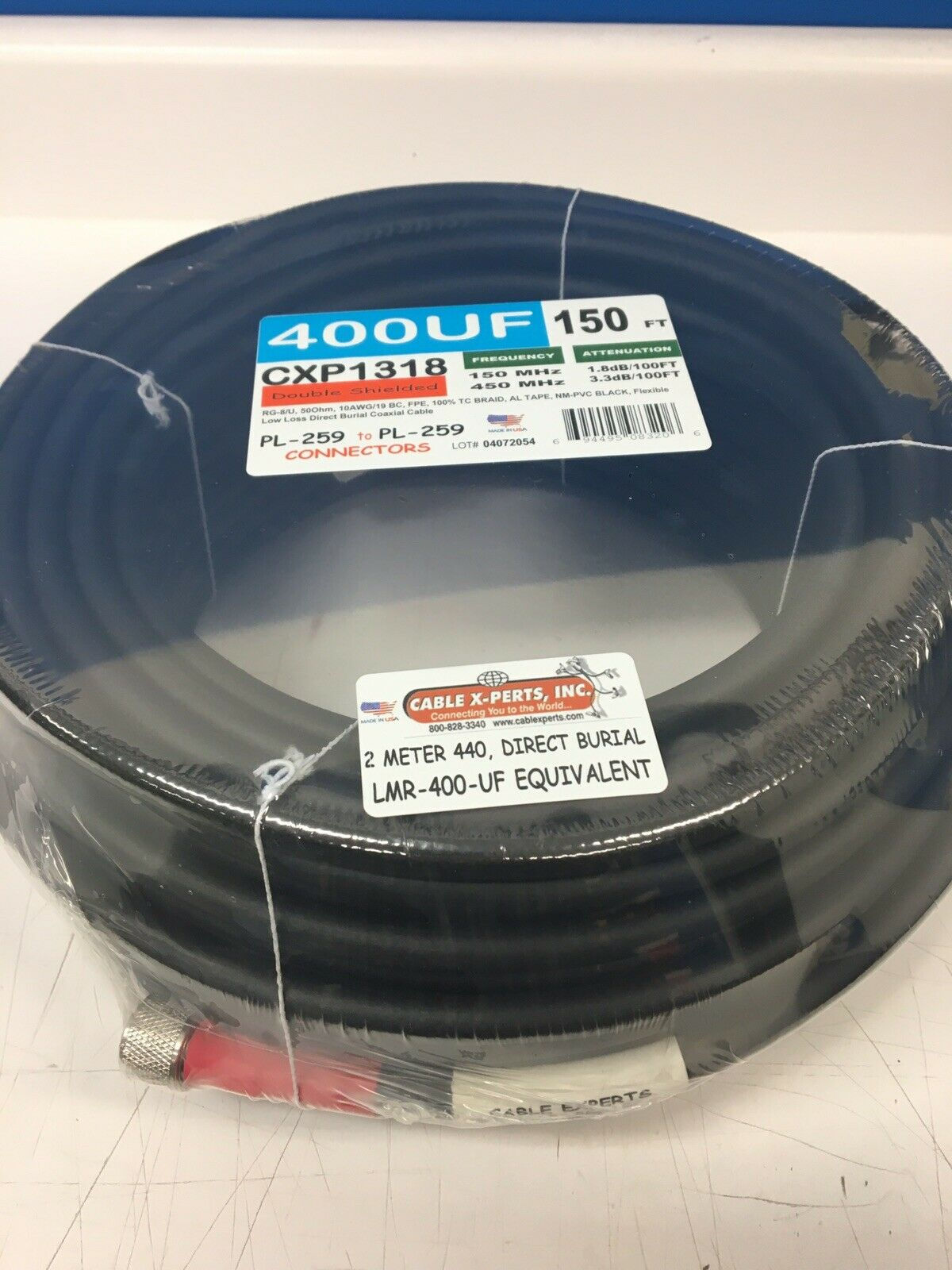 150' LMR-400 Flex Cable X-Pert Stranded Coax /2 PL-259 Direct Bury Super Lo Loss. Available Now for 185.00