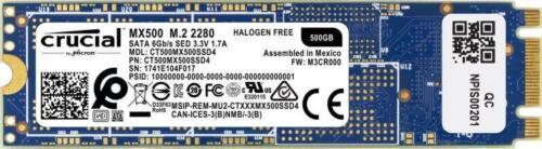 SSD Crucial MX500 Interno 500GB M.2 2280 SATA 6.0Gb//s CT500MX500SSD4