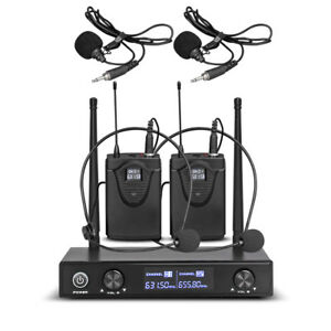 Pro-Audio-UHF-Wireless-Microphone-System-2-Channel-2-Lavaliers-Lapels-Headsets