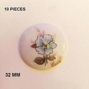 10 Plaques Porcelaine Limoges 32 Mm Ronde - Rose Gvsead1w-08010624-517581238