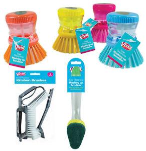 Cucina-SAPONE-LIQUIDO-erogazione-Dish-DETERSIVO-Spazzole-Scrubber-4pcs-SERIE-handle