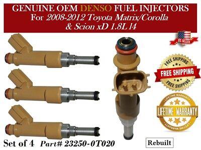 SET 4 Fuel Injectors fits Scion xD Toyota Corolla Matrix 1.8L-L4 23250-0T020