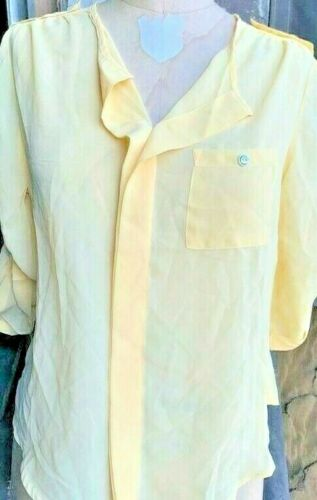 Women Utility placket top with shoulder tab summer light pastel yellow blouse
