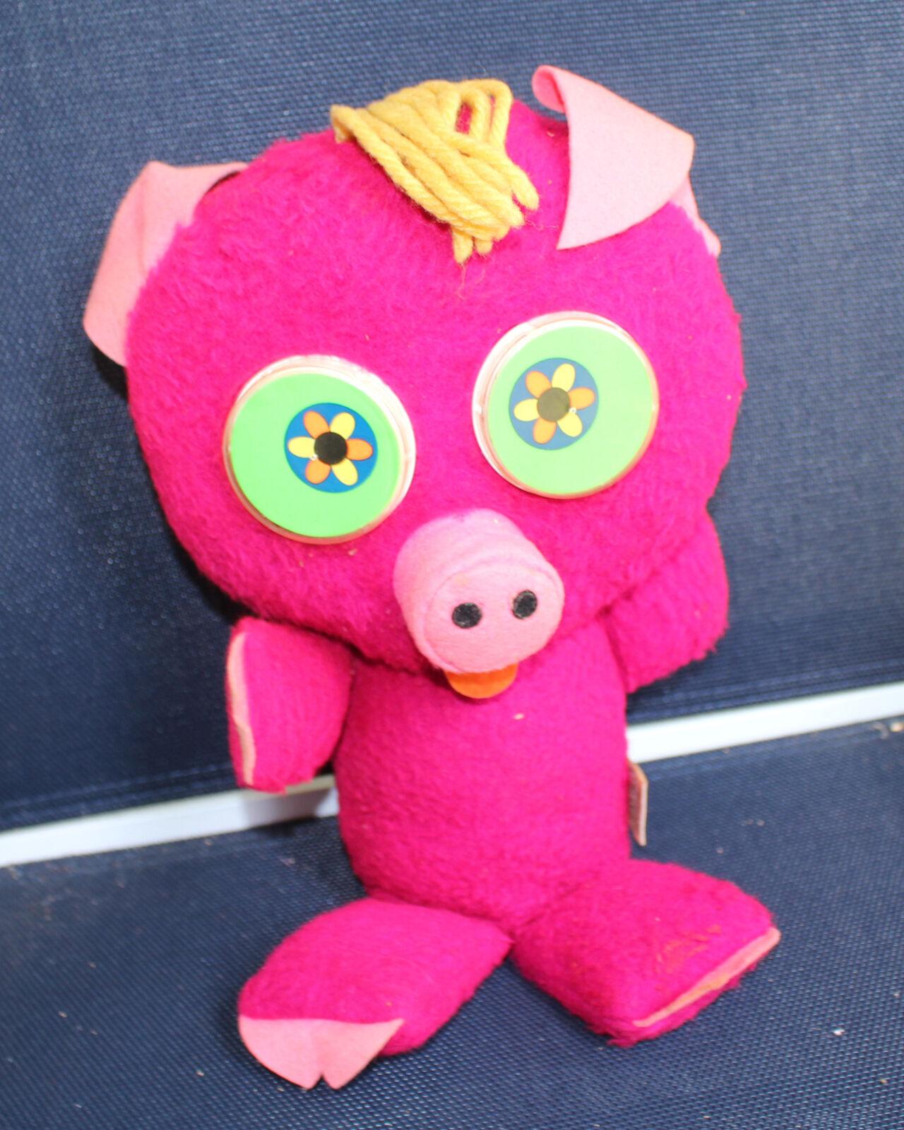 Vintage Mattel  Googlies Psychedelic Pig Hot Pink Squeaks 1967