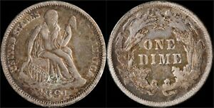1891-Liberty-Seated-Dime-Silver-US-Type-Coin-Var-4-Last-Year-of-Issue