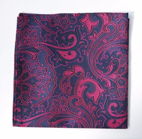 Hankie Pocket Square Handkerchief Navy Blue /& Shoocking Pink Floral