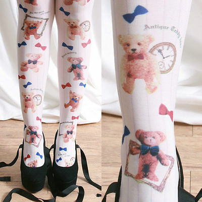 Harajuku Decora Kawaii Princess Lolita Teddy Bear Novelty Tights Pinstripe White