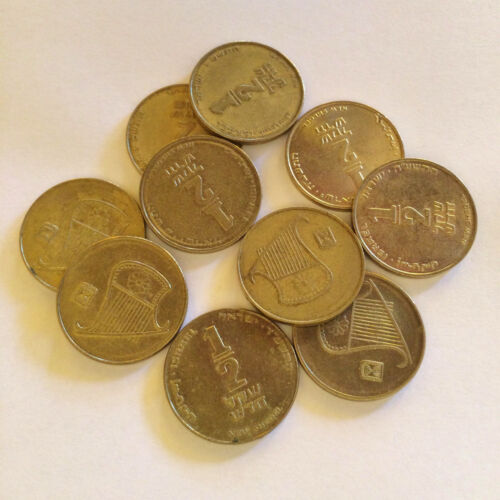 Lot 10 Israeli Coins Half 1//2 Shekel Sheqel Israel Official Current Currency ILS