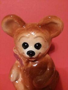 Cute Vintage Ceramic Bear w/Bow Planter/Utensil Holder, Toothbrush Holder