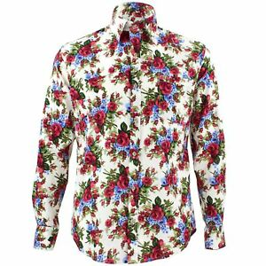 Men-039-s-Loud-Shirt-Retro-Psychedelic-Funky-Party-TAILORED-FIT-Red-Blue-Roses