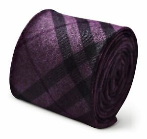 f56c11190fb0 Frederick Thomas mens wool tweed tie in purple and black check ...