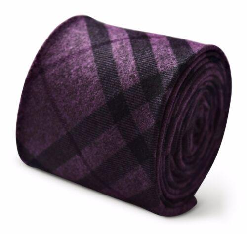 Dark Purple /& Black Check Plaid Frederick Thomas Designer Tweed Wool Mens Tie