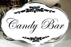 Shabby Schild Vintage Candy Bar Nostalgie Weiss Tafel Holz Oval