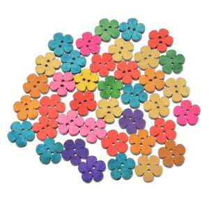 50PCs-Wood-Sewing-Buttons-Floral-Petal-Pattern-Mixed-19x18mm