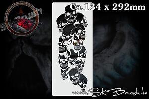 Airbrush-Schablone-fuer-Schaedel-Totenkoepfe-Pile-of-Skull-Stencil