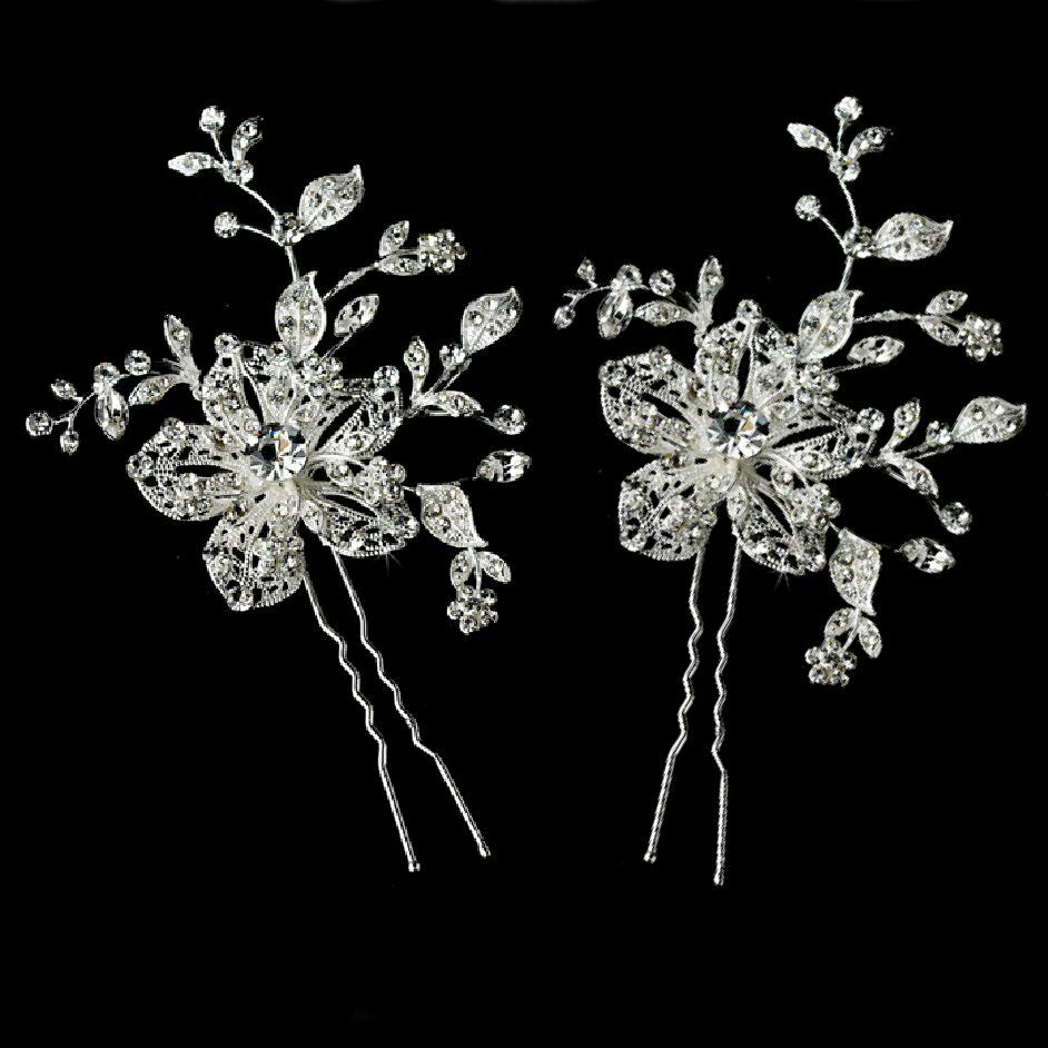2 pin flowers leaves wedding rhinestone tiara headband bridal hair transparent