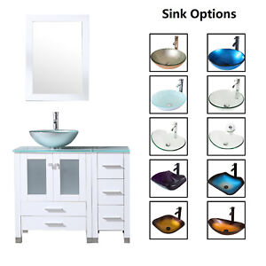 36 Bathroom Vanity Cabinet Tempered Glass Vessel Sink Bowl Faucet