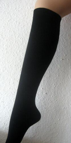 3 Paar Herren Bambus Kniestrümpfe ohne Gummi breiter Pique Bund schwarz 39-46