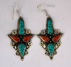 ethnic-handmade-classic-hook-sterling-silver-earrings-tops-turquoise-ER31